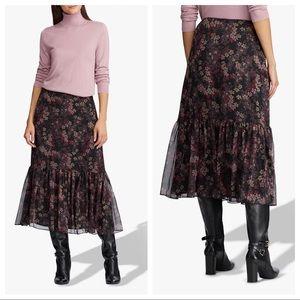 Ralph Lauren Floral Ruffle Flounce Midi Skirt